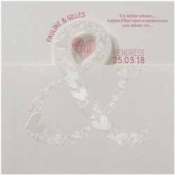 Faire part mariage original crème esperluette coeurs nacrés BELARTO Romantic 726036-W