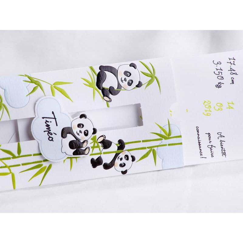 Top part naissance original pochette bambou pandas Faire Part Select  VY29