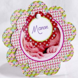 Faire-part naissance original fleur multicolore photo - Faire Part Select En Route 89404