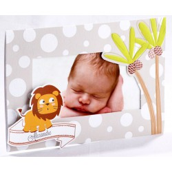 Faire-part naissance original taupe palmier lion biche photo - Faire Part Select En Route 89407