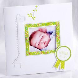 Faire-part naissance classique photo girafe gaufrage - Faire Part Select En Route 89409