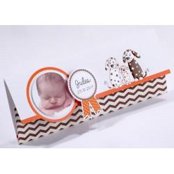 Faire-part naissance original pochette chien crème orange marron - Faire Part Select En Route 89415