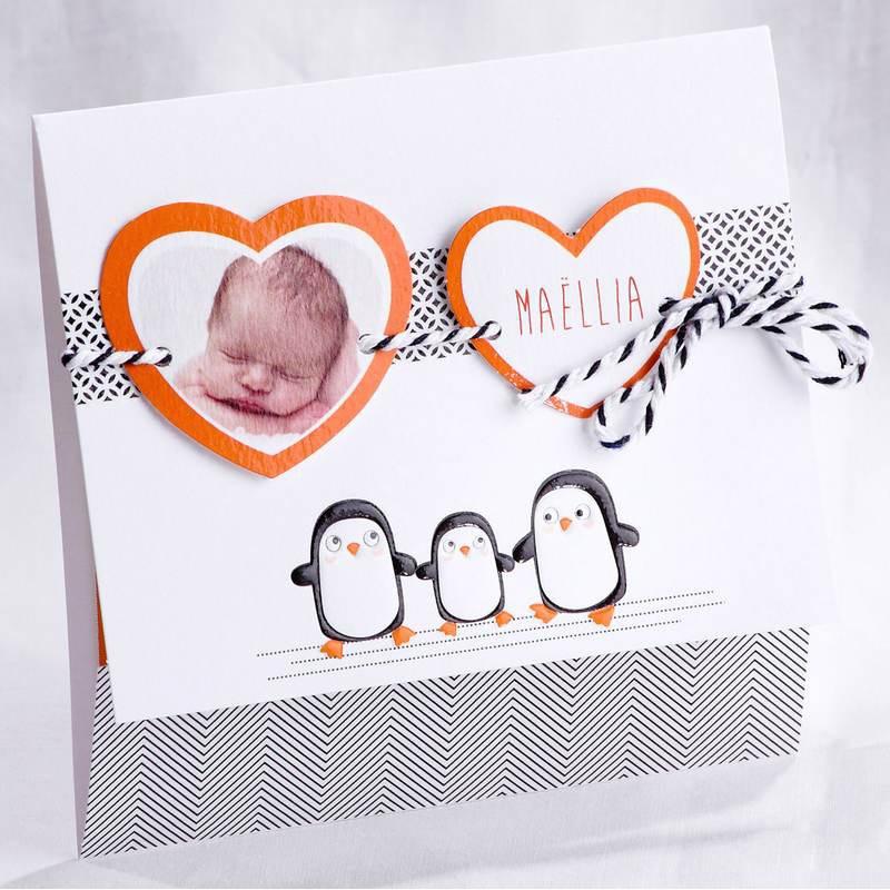 faire part naissance original pochette pingouins coeurs oranges photo faire part select en route. Black Bedroom Furniture Sets. Home Design Ideas