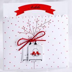 Faire-part naissance vintage pochette blanche coeurs rouges arbre oiseaux - Faire Part Select En Route 89419