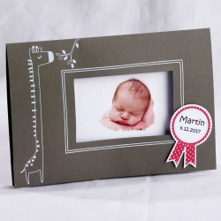 Faire-part naissance gris girafe blanche photo - Faire Part Select En Route 89420