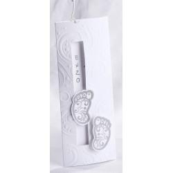 Faire-part naissance chic coulissant blanc pieds gris arabesques - Faire Part Select En Route 89423