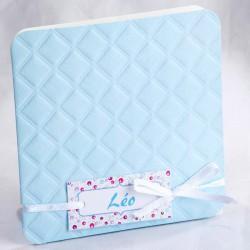 Faire-part naissance classique bleu ruban blanc photo - Faire Part Select En Route 89425