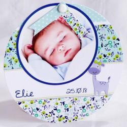 Faire-part naissance original disque motifs bleus - Faire Part Select En Route 89427