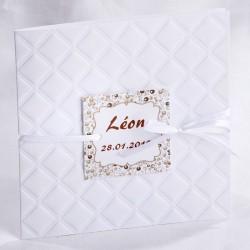 Faire-part naissance vintage classique blanc motifs taupe - Faire Part Select En Route 89432