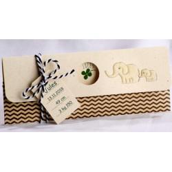 Faire-part naissance nature papier crème recyclé trèfle éléphants - Faire Part Select En Route 89438