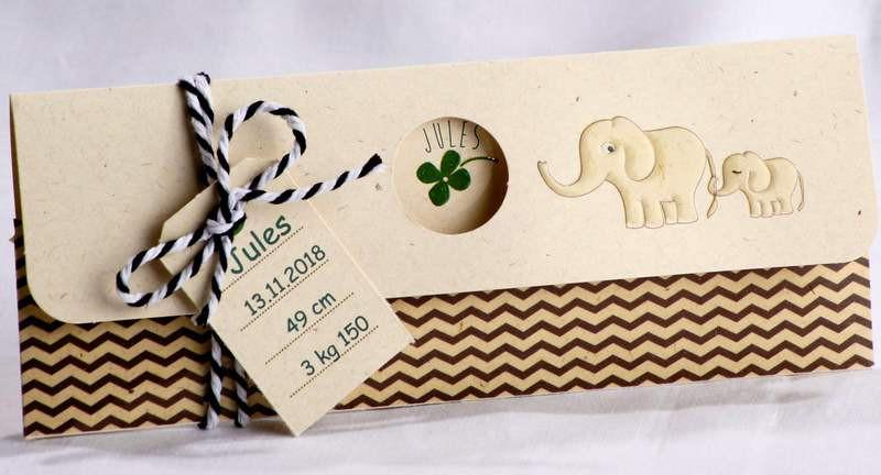 Populaire Faire-part naissance nature papier crème recyclé trèfle éléphants  JB77