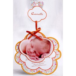 Faire-part naissance original coloré fleur orange photo - Faire Part Select En Route 89439
