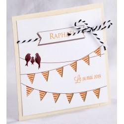 Faire-part naissance original crème blanc oiseaux marron - Faire Part Select En Route 89440