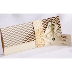 Faire-part naissance vintage camel pochette chevrons fleurs - Faire Part Select En Route 89441
