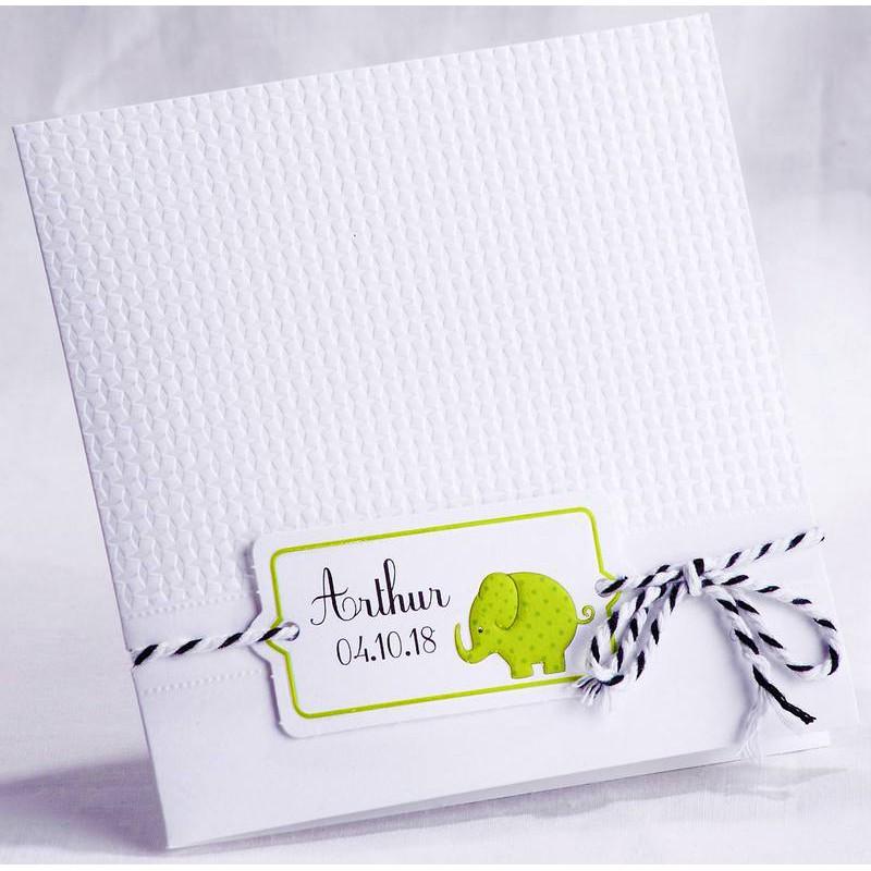 Super Faire-part naissance classique blanc éléphant vert photo Faire  VE54