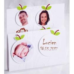 Faire-part naissance famille nombreuse arbre vernis blanc - Faire Part Select En Route 89464