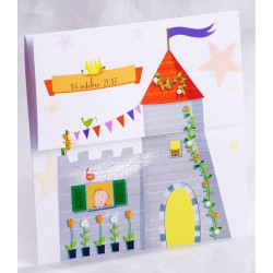 Faire-part naissance château fort étoiles - Faire Part Select En Route 89469