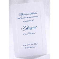 Faire-part naissance classique blanc liseré gaufrage - Faire Part Select En Route 89471