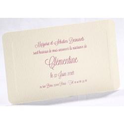 Faire-part naissance classique crème liseré gaufrage - Faire Part Select En Route 89472
