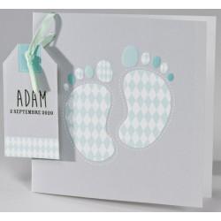 Faire-part naissance graphique pieds losanges verts Buromac Baby Folly (2016) 586.035