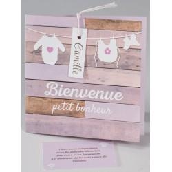 Faire-part naissance vintage bois peint rose Buromac Baby Folly (2016) 586.150