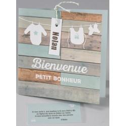 Faire-part naissance vintage bois peint vert Buromac Baby Folly (2016) 586.149