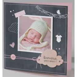 Faire-part naissance original coeur nuage roses Buromac Baby Folly (2016) 586.071