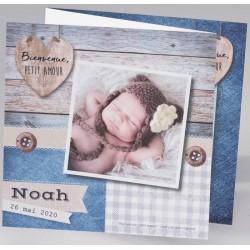 Faire-part naissance original bleu patchwork photo Buromac Baby Folly (2016) 586.022