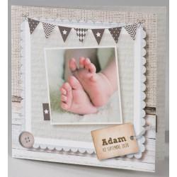 Faire-part naissance original beige patchwork Buromac Baby Folly (2016) 586.023