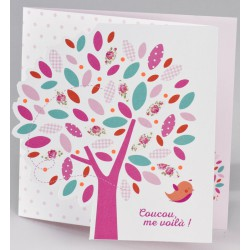 Faire-part naissance original arbre rose oiseau Buromac Baby Folly (2016) 586.133
