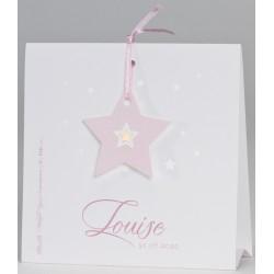 Faire-part naissance élégant chevalet étoile rose pâle Buromac Baby Folly (2016) 586.128-556.011