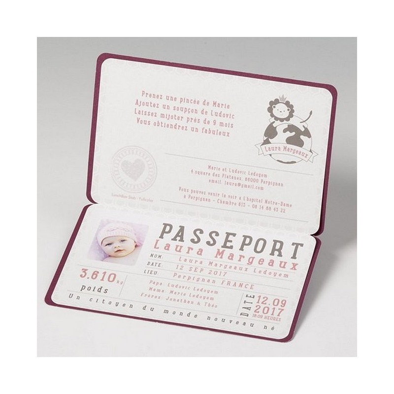 Favori part naissance original passeport Belarto Happy Baby 715119 AB03