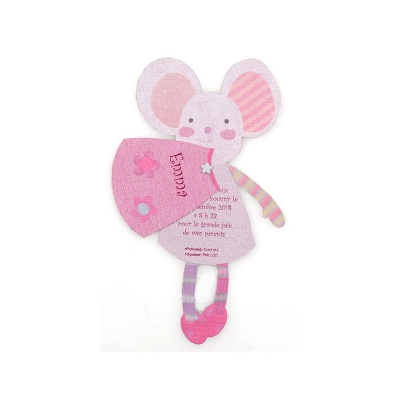 Assez Faire-part de naissance original fille souris rose Busquet 31.032  TU33