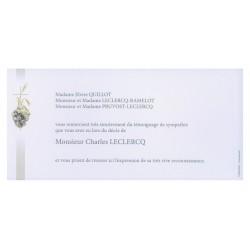 Carte de remerciement décés, deuil, funérailles, condoléances, obsèques DECORTE 6987
