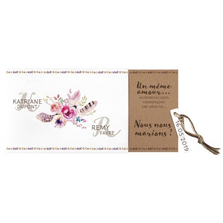 Faire part mariage vintage pochette fleurs plumes Belarto Bohemian Wedding 727011