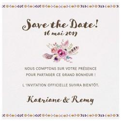 Carte lunch ou remerciements vintage bohème fleurs plumes Belarto Bohemian Wedding 727511
