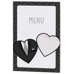 Menu mariage noir et blanc costume bustier coeur Belarto Bohémian Wedding 727606