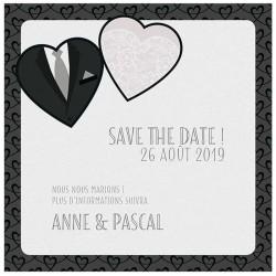 Carte lunch ou remerciements chic noir et blanc costume bustier BELARTO Bohémian Wedding 727506