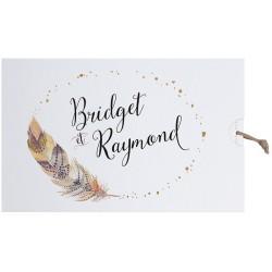 Faire part mariage bohème chic plume dorée Belarto Bohemian Wedding 727005