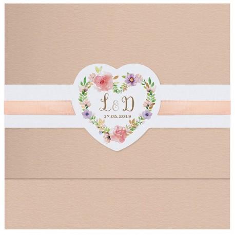 Faire part mariage élégant fleurs quarelle dorure Belarto Bohemian Wedding 727036