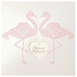 Faire part mariage original flamant rose coeur Belarto Bohemian Wedding 727037
