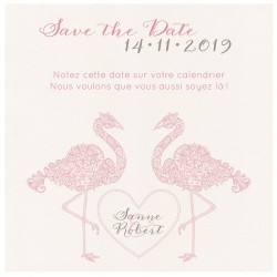 Carte lunch ou remerciements chic flamant rose ceur Belarto Bohemian Wedding 727537