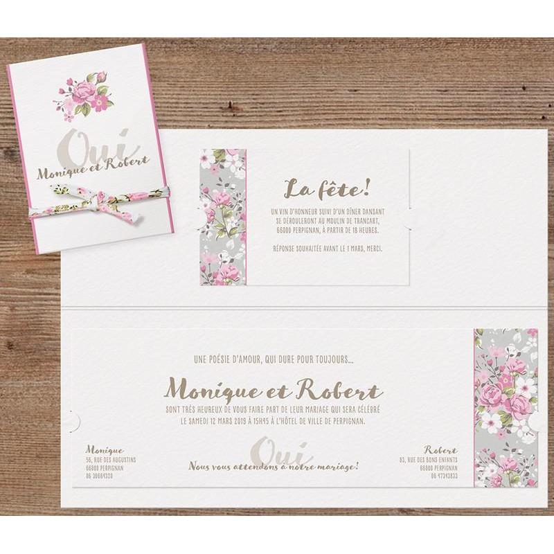 Faire part mariage boh me chic fleurs oses ruban belarto bohemian wedding 727010 - Faire part boheme chic ...
