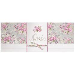 Menu mariage chic fleurs roses gris belarto bohemian - Faire part boheme chic ...