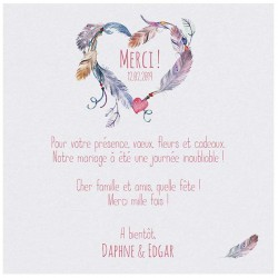 Carte lunch ou remerciements chic coeur plumes multicolores Belarto Bohemian Wedding 727504
