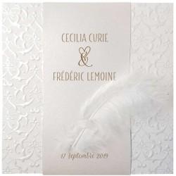 Faire part mariage poétique blanc ivoire plume Belarto Bohemian Wedding 727029