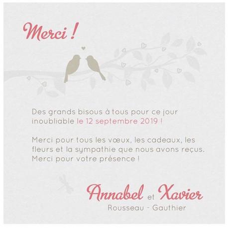 Carte lunch ou remerciements chic blanche branche oiseaux Belarto Bohemian Wedding 727512