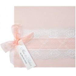 Faire part mariage vintage vieux rose ruban saumon dentelle Belarto Bohemian Wedding 727021