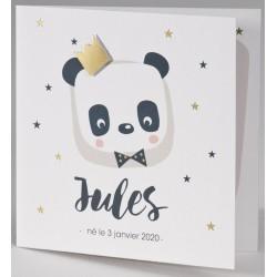 Faire-part naissance panda roi couronne dorée BUROMAC Pirouette 2017 507.008