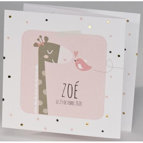 Faire-part naissance original blanc rose girafe oiseau BUROMAC Pirouette 2017 507.044